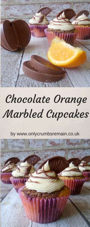 These Chocolate Orange Marbled Cupcakes are made with a marbled Victoria sponge, filled with a chocolate orange ganache & topped with a vanilla frosting, a chocolate orange segment and drizzle, these cupcakes are perfect if you're looking for something a little bit special in a cupcake form.