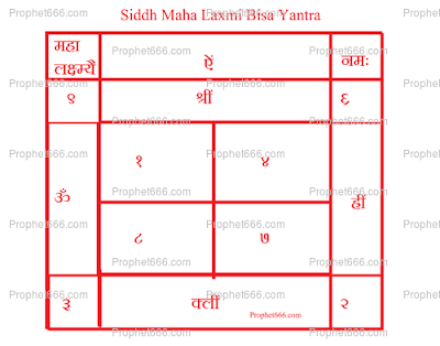 Siddh Maha Laxmi Bisa Yantra for wealth, abundance, prosperity and money