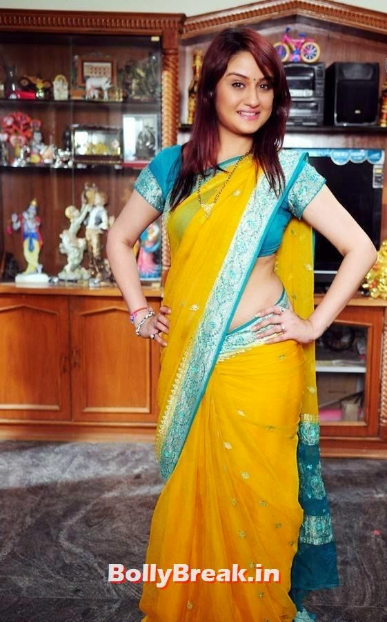 , Actress Sonia Agarwal hot Photos in Yellow Saree