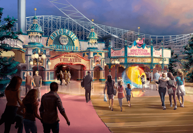 Concepto artístico del nuevo Pixar Pier en California Adventure