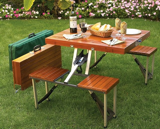 Must Have Backyard Picnic Gadgets - Folding Wooden Picnic Table