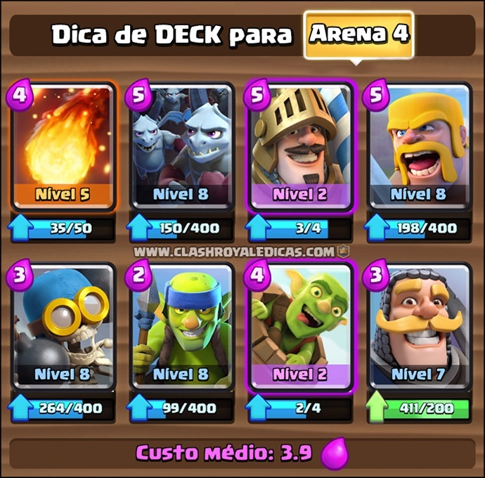 Deck para Arena 4 no Clash Royale