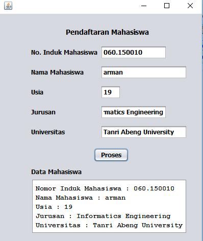 Form Pendaftaran Mahasiswa Menggunakan Java Netbeans Tutorialswb Belajar Bahasa Pemrograman Php