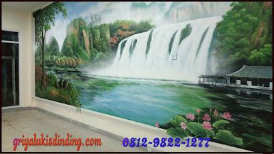 Mural lukis dinding tema pemandangan 3 dimensi