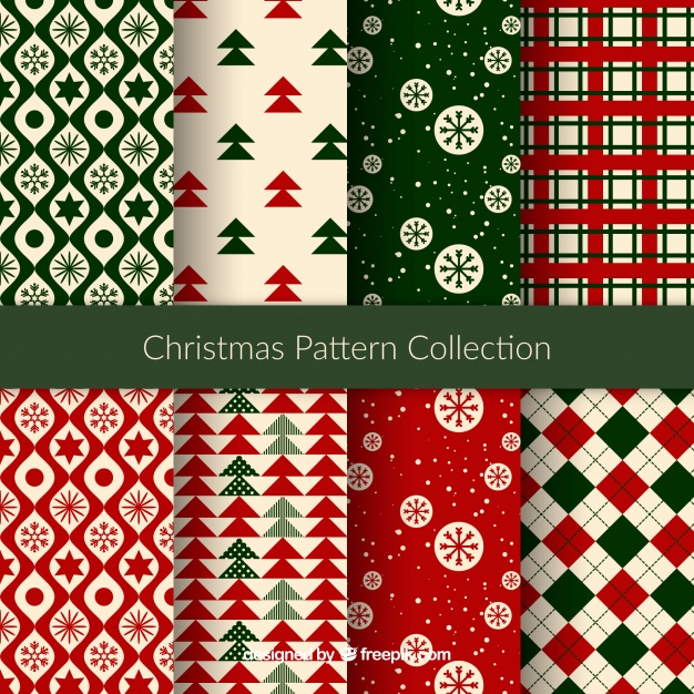 Nice christmas patterns Free Vector