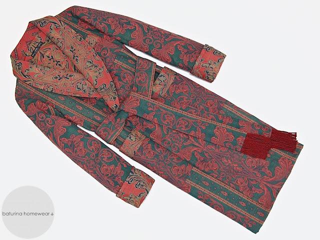 Herren Hausmantel Baumwolle Paisley Luxus Morgenmantel für Männer englisch britisch lang elegant edel warm