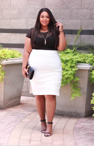 Side Slit Ivory Pencil Skirt Curves on a Budget for Society+