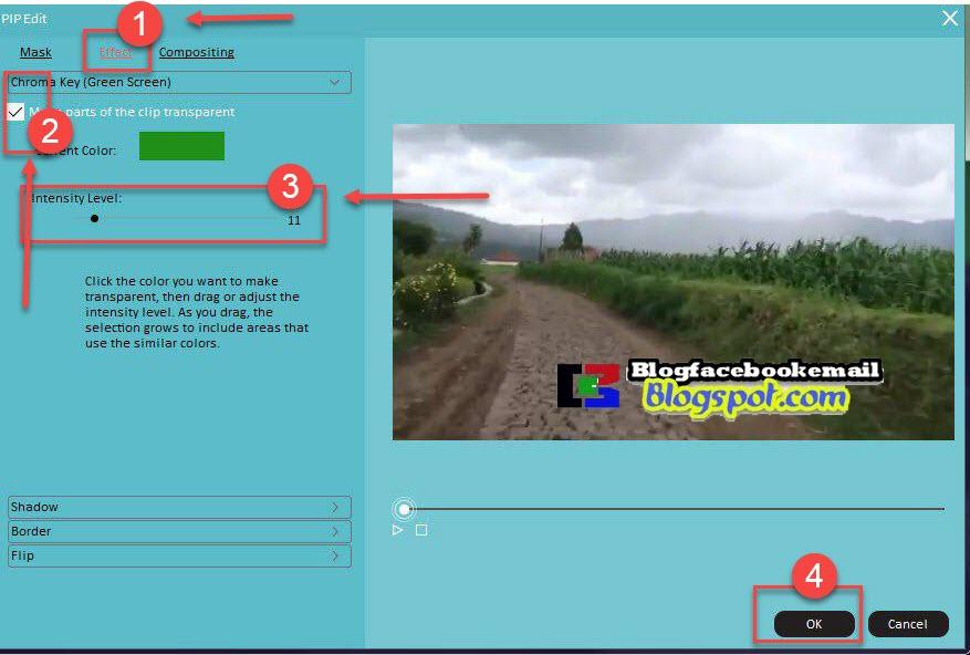 mengatur greenscreen efek video