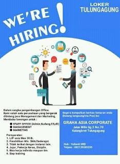 Kesempatan Berkarir di Graha Asia Corporate Tulungagung Februari 2018.