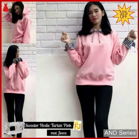 AND078 Sweater Wanita Lucu Hoodie Tartan Pink BMGShop