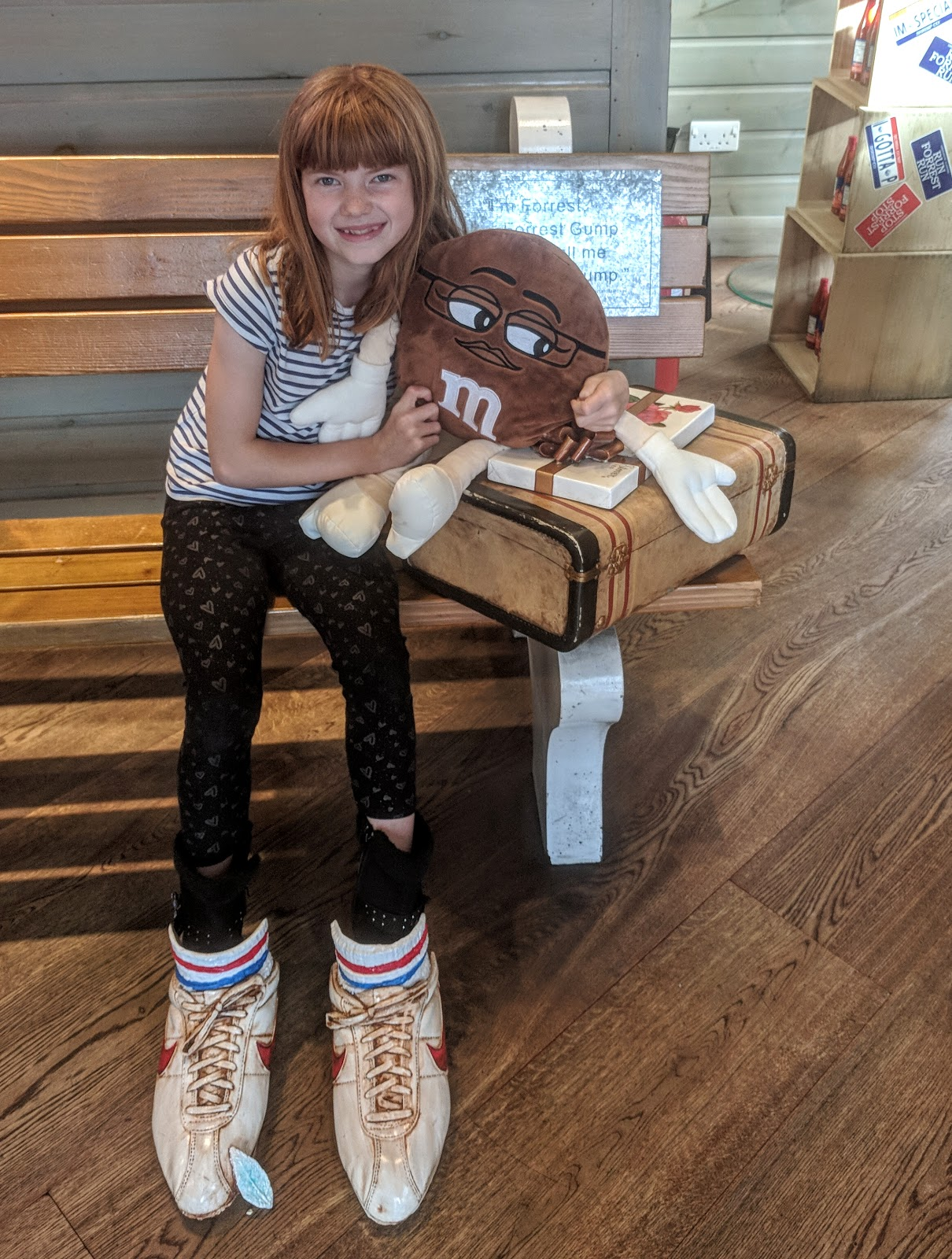 Dining with Kids in London | Bubba Gump Shrimp Leicester Square Review  - Forrest Gump bench