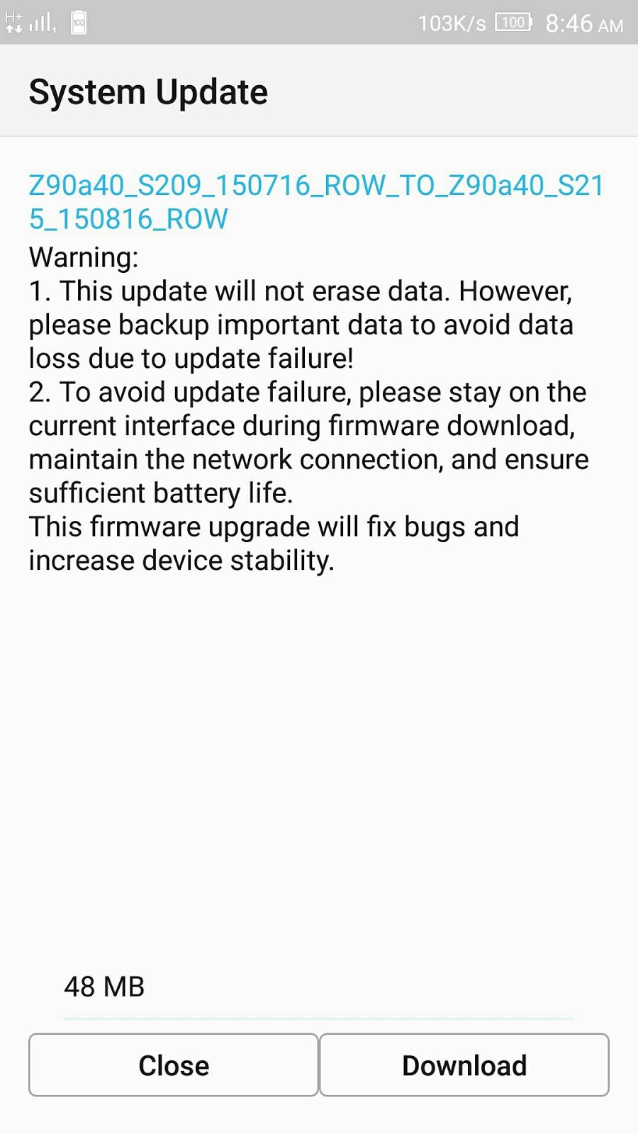 Lenovo Vibe Shot newest August OTA update now up