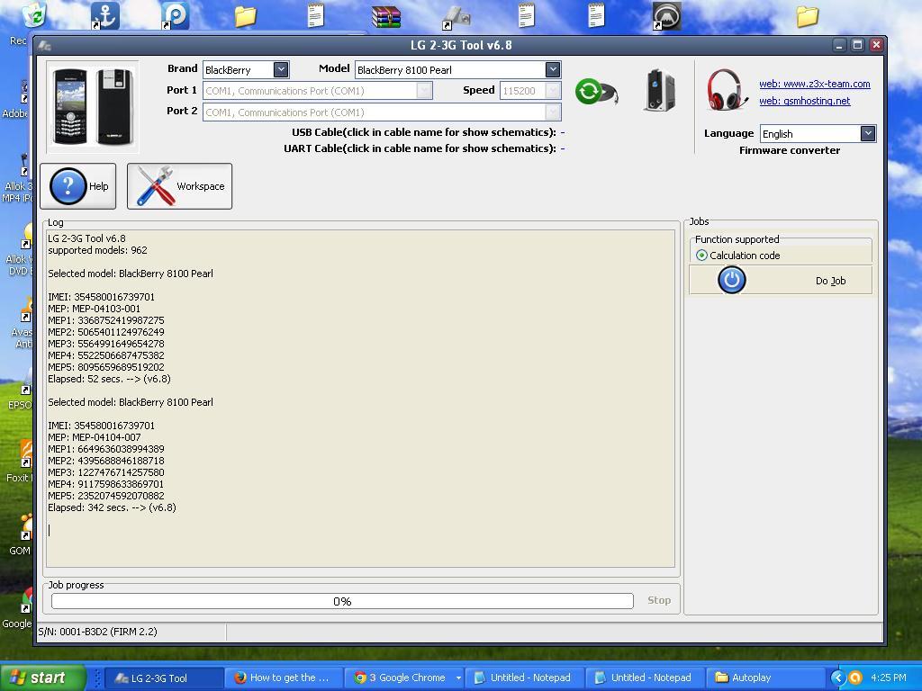 Blackberry 8100 Pearl Unlocked Using Z3X Code Reader - Edwin's