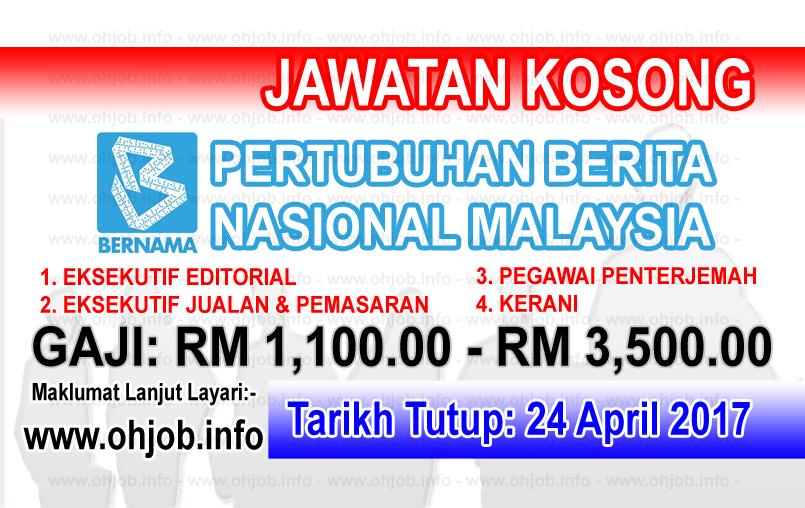 Jawatan Kerja Kosong BERNAMA - Pertubuhan Berita Nasional Malaysia logo www.ohjob.info april 2017