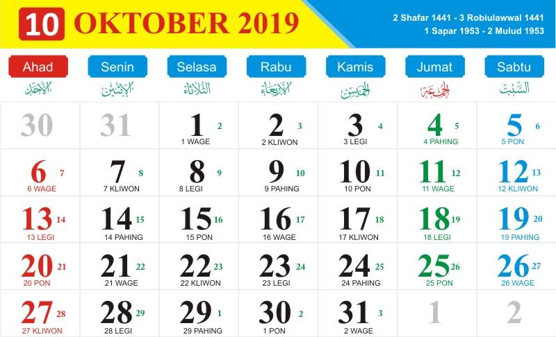 Kalender jawa oktober 2019
