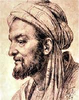İbni Sina'yı yan profilden gösteren eski bir resim