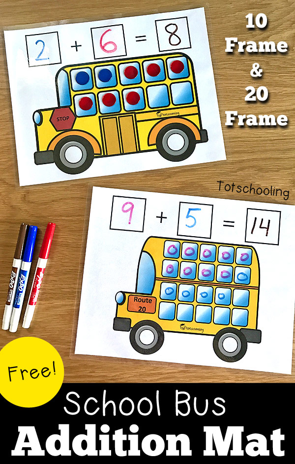 FREE printable addition mats featuring a school bus, perfect for kindergarten math and learning to add. Also featuring a review of the mobile app Zap Zap Kindergarten Math.