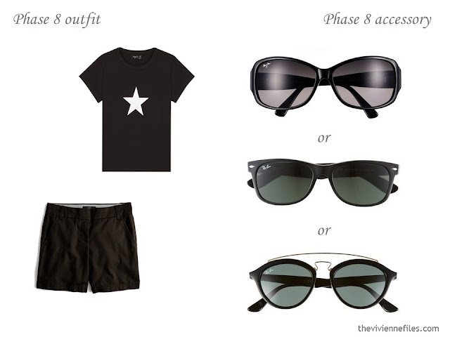 three choices of sunglasses to wear with a simple summer outfit