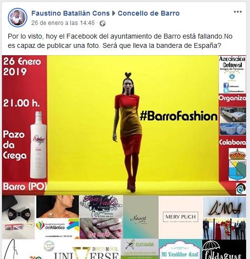 El Concello de Barro (BNG) evita publicar una foto de una actividad cultural por llevar la bandera de España