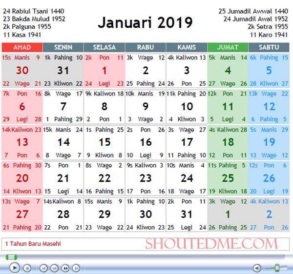 kalender jawa januari 2019 baru