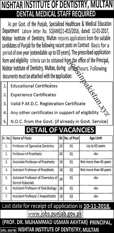 Advertisement for Nishtar Institute of Dentistry Multan Jobs 2018