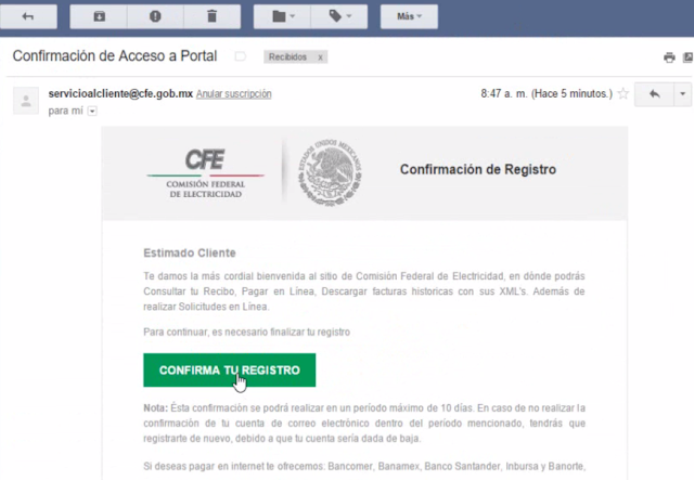 confirmar registro en página de CFE