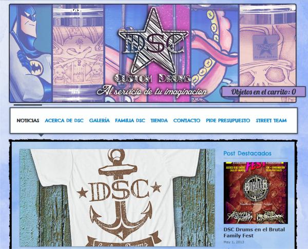 Captura de pantalla de la web de dsc drums