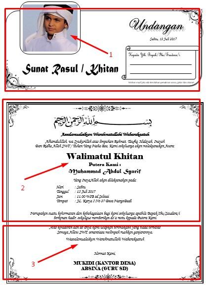 Download Contoh Undangan Sunat Rasul Atau Undangan Khitanan Dengan
