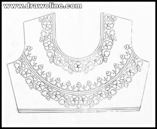 Top 5 latest blouse design patterns pencil sketch on tracing paper for hand emroidery and maggam work/draw beautiful blouse design for hand works and machine embroidery.