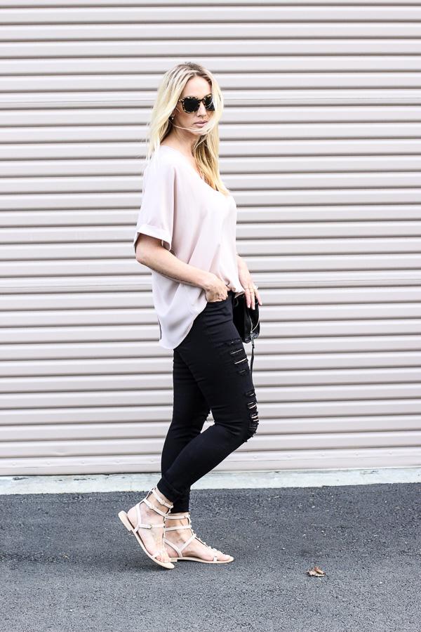 black and blush fashion parlor girl