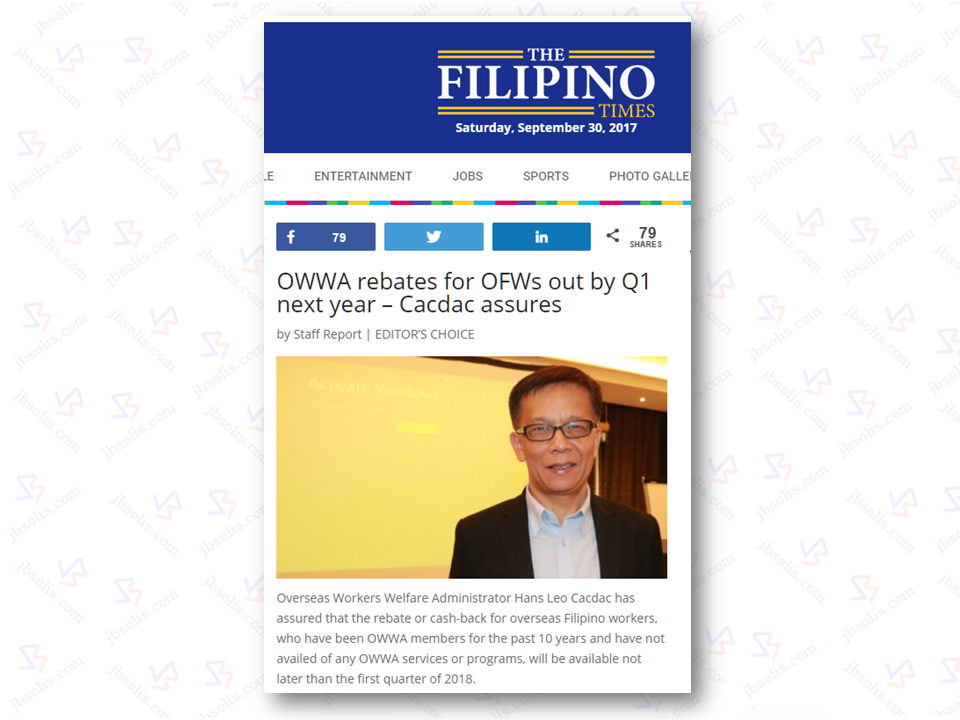 "Overseas Workers Welfare Administration (OWWA) headed by Admin Hans Leo Cacdac has assured that the cash-back for Overseas Filipino Workers (OFWs), who have been OWWA members for the past 10 years and have not availed of any OWWA services or programs, will be most probably available not later than the first quarter of 2018.   Cacdac made this assurance at a recent gathering with Filipino community leaders in Abu Dhabi's Dusit Thani Hotel according to the report of The Filipino Times, a publication based in the UAE..  However, Cacdac said that the amount is crucial as they want to make sure that the amount is neither too small or too big and that OWWA could have enough funds to handle it.  Sponsored Links Cacdac also said that they do not want to rush things and they want to make sure that they would announce the amount correctly when the right time comes.   An actual expert has been hired by OWWA to study the mechanism and sustainability of the program.  The OWWA administrator  reiterated that another study is needed for tracking old OWWA members and the mode of payment transfer to be used.  ""There is a possibility that the members have already relocated in other places. One suggestion that we are looking into is through the banking system,"" Cacdac said. DOLE delegation came recently to UAE for the signing of Memorandum of Understanding (MOU) Philippines and the UAE and Admin Hans Cacdac was a part of it. Source: The Filipino Times   Advertisement READ MORE:       ©2017 THOUGHTSKOTO"