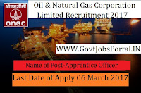 Oil and Natural Gas Corporation Limited Recruitment 2017– Apprentice