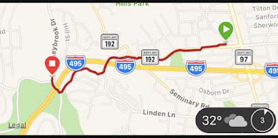map showing my route from Forest Glen to my neighborhood