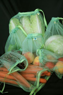 green mesh produce bag