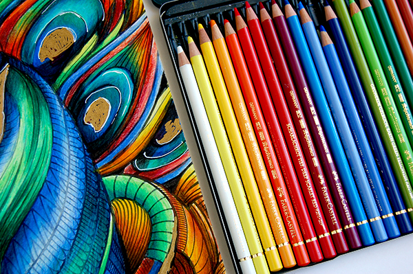Faber-Castell Polychromos Pencils tin of 24 and Peacock adult coloring page