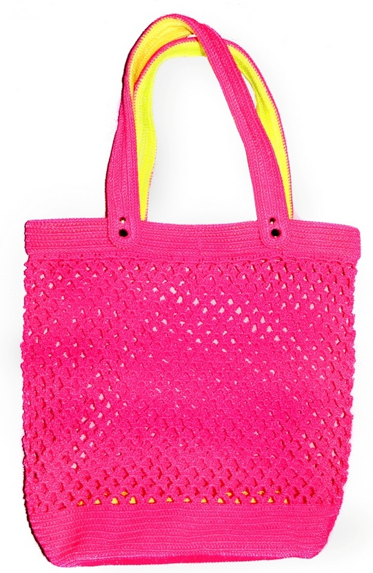 Неоновая сумка-авоська крючком.