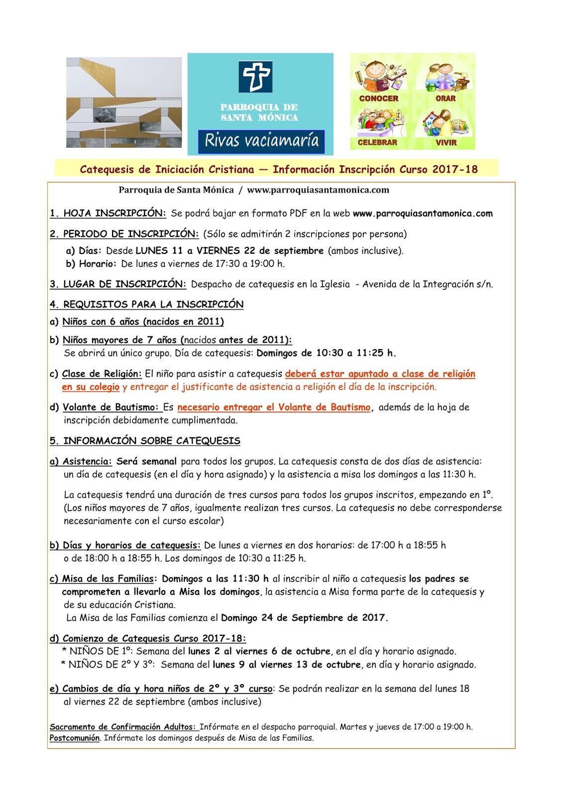Parroquia Santa Mónica (Rivas-vaciamadrid) : Comienzo del curso de ...