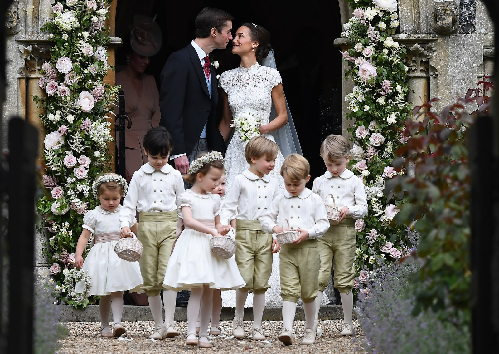 Pippa Middleton married James Matthews on Saturday. The bridal party included her niece, Princess Charlotte, far left, and nephew, Prince George, second from right