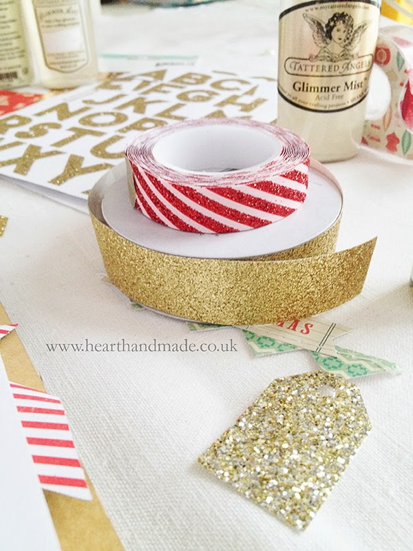 American Crafts Gold glitter tape and Meri Meri pink and red glitter tape