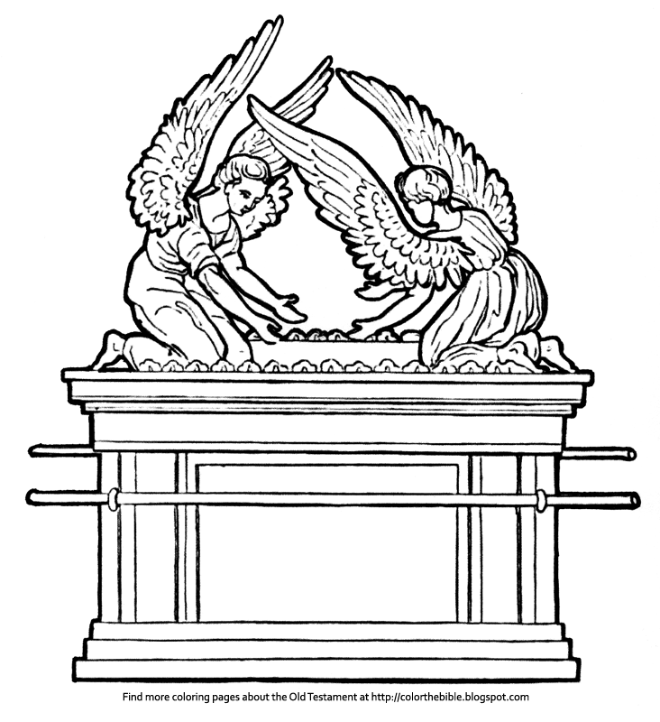 Description Of The Coloring Pages Two Versions Angels 10 Commandments Ark Covenant Hebrew Rn Habbrt