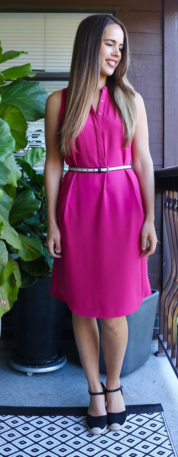 Jules in Flats July Outfits - Pink Midi Dress