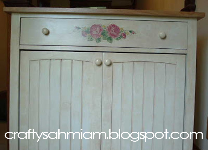 ... first piece of furniture I st&ed with rubber st&s and acrylic craft paint 6 years ago. It was a brand new bright white microwave storage cabinet. & crafty sahm i am: Faux Painted/Stamped Cabinet