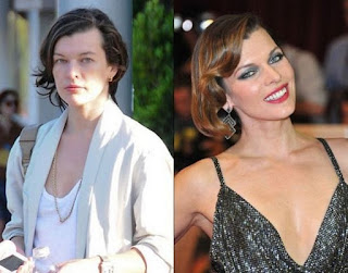 fotos de famosos antes e depois da maquiagem - Mila Jovovich