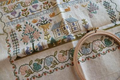 Moira Blackburn Three Things sampler in progress