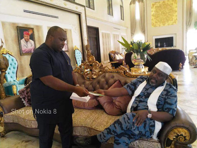 "LOC team members of ""Handshake Across The Niger"" pay courtesy visit to Rochas Okorocha"