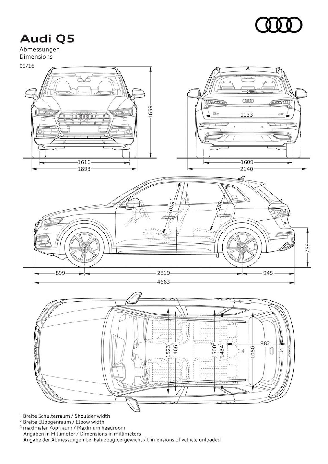 Audi Q5 2017 Dimensioni e Misure bagagliaio