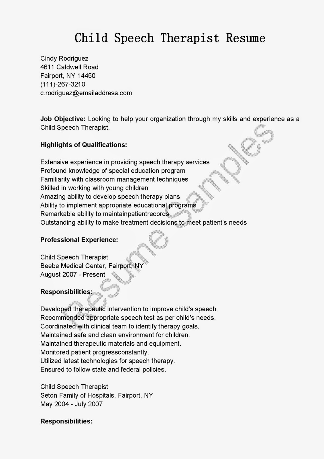 resume samples  child speech therapist resume sample