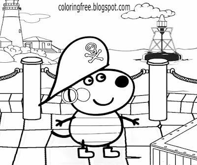 Sea coastline cartoon printables pirate easy Peppa pig colouring pages for play school kids to color