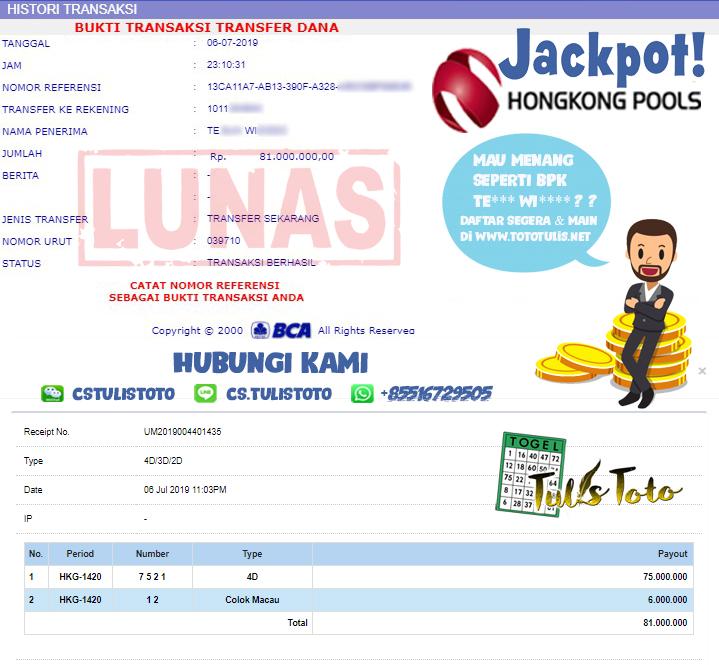 JACKPOT TOGEL 06 JULI 2019 4D & COLOK MACAU HONGKONG POOLS TULISTOTO MEMBER JP TOGEL 100% LANGSUNG DI BAYARKAN !!