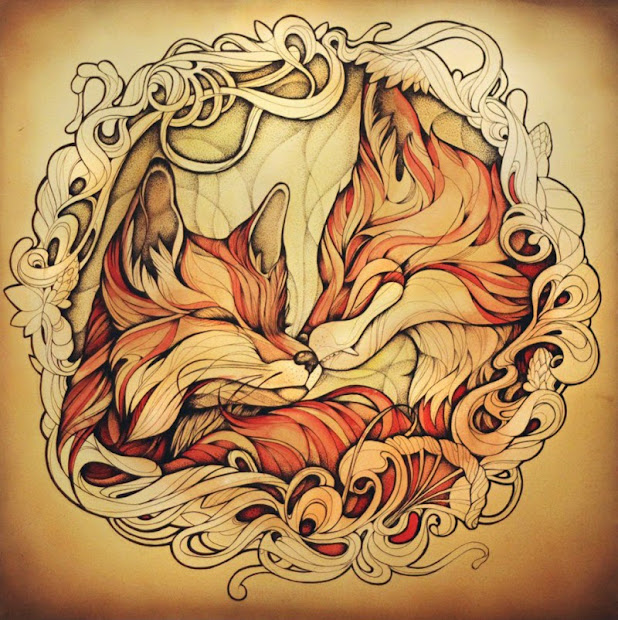 Foxes Tattoo Design Drawings